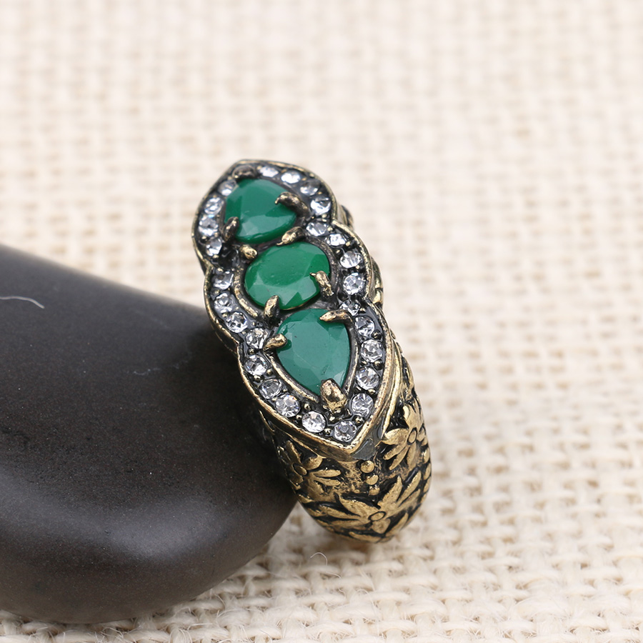 Ring 2016 Fashion Bohemian Antique Gold Resin Accessories Wedding Rings For Women Party Gift