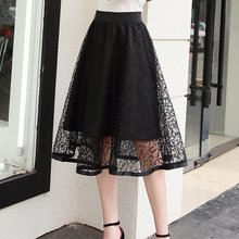 2018 New Arrival Women Skirt Fashion Midi Lace Skirts High Quality Elastic Waist Elegant Skirt Ladies Pleated Skirts