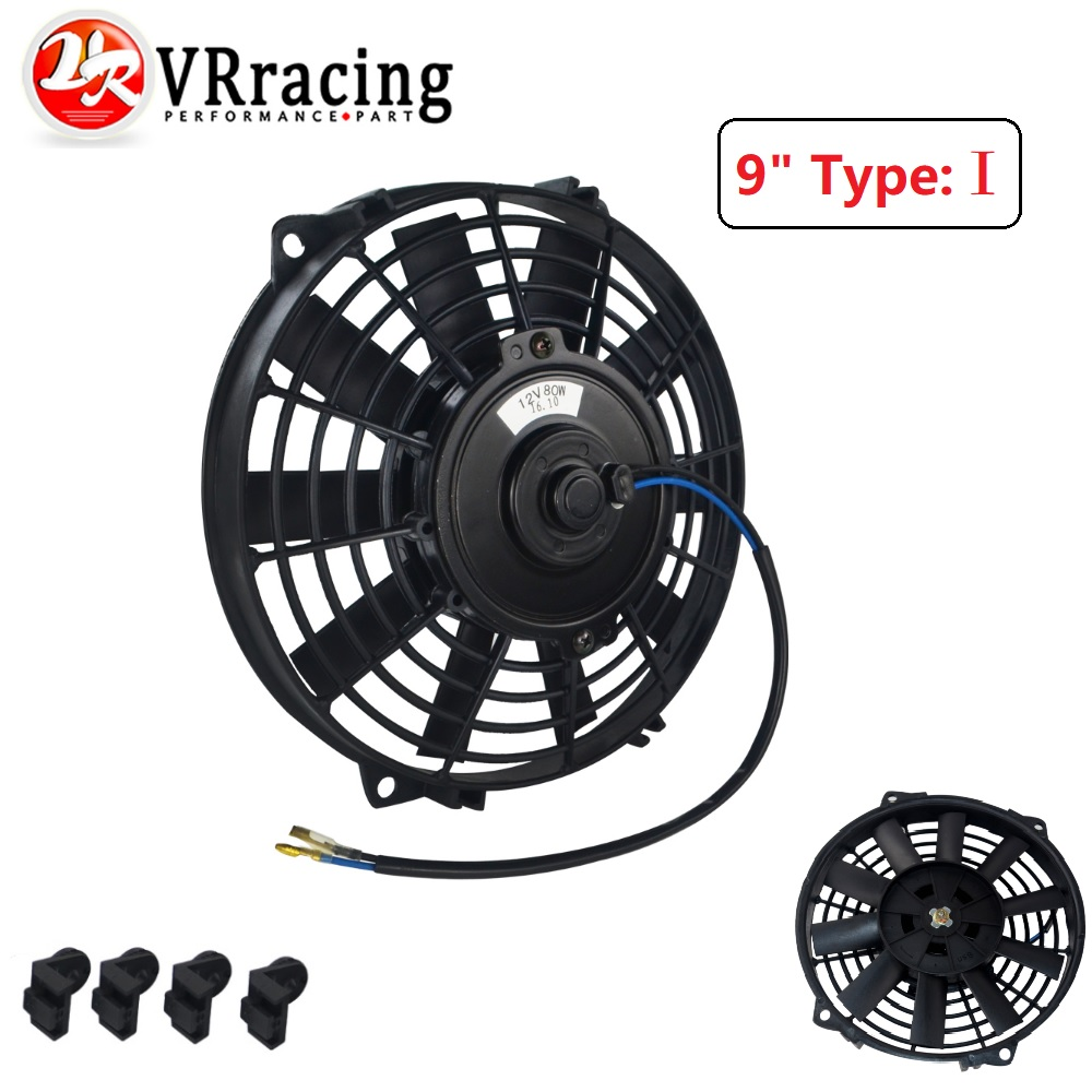 Cooling System 9 Inch Universal 12v 80w Slim Reversible Electric Radiator Auto Fan Push Pull With Mounting Kit Type I 9 Vr-fani9 Tireless Vr Racing