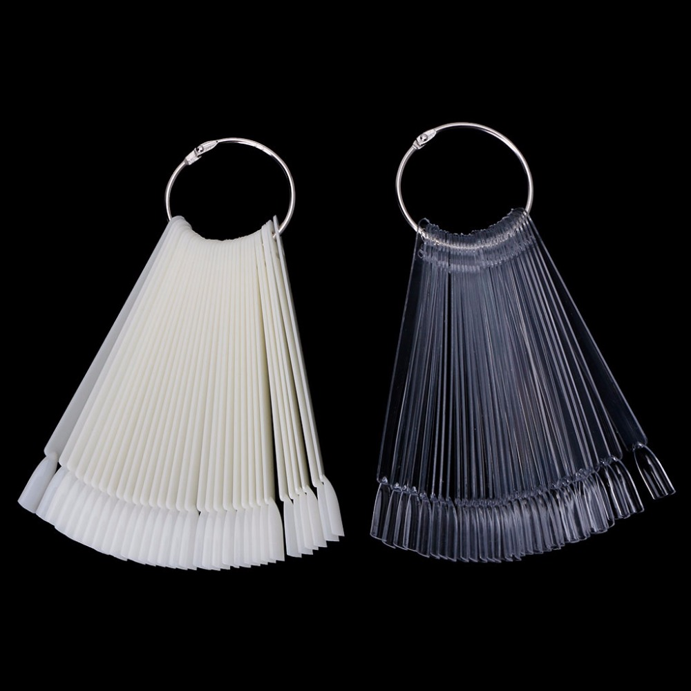 MAANGE 12.5cm 30pcs False Nail Art Tips Nail Polish Display Nails Art Palette Color Chart With Ring Clear/ White stylish 24 pcs smile expression pattern nail art false nails page 1