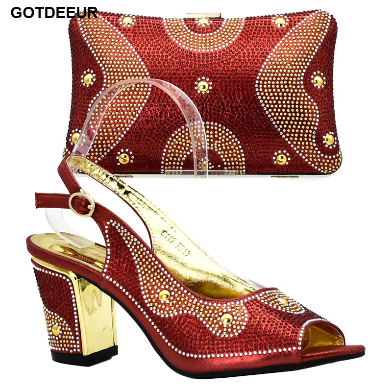 New Arrival Red Color Nigerian Shoes and Matching Bags Italian Ladies Women Shoes and Bag To Match Set Decorated with Rhinestone