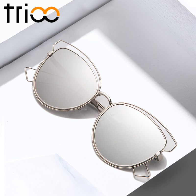 TRIOO Silver Mirror Women Sungalsses Chic Brand Design Ladies Sun Glasses Summer Colorful Lens Shades Luxury Oculos de sol