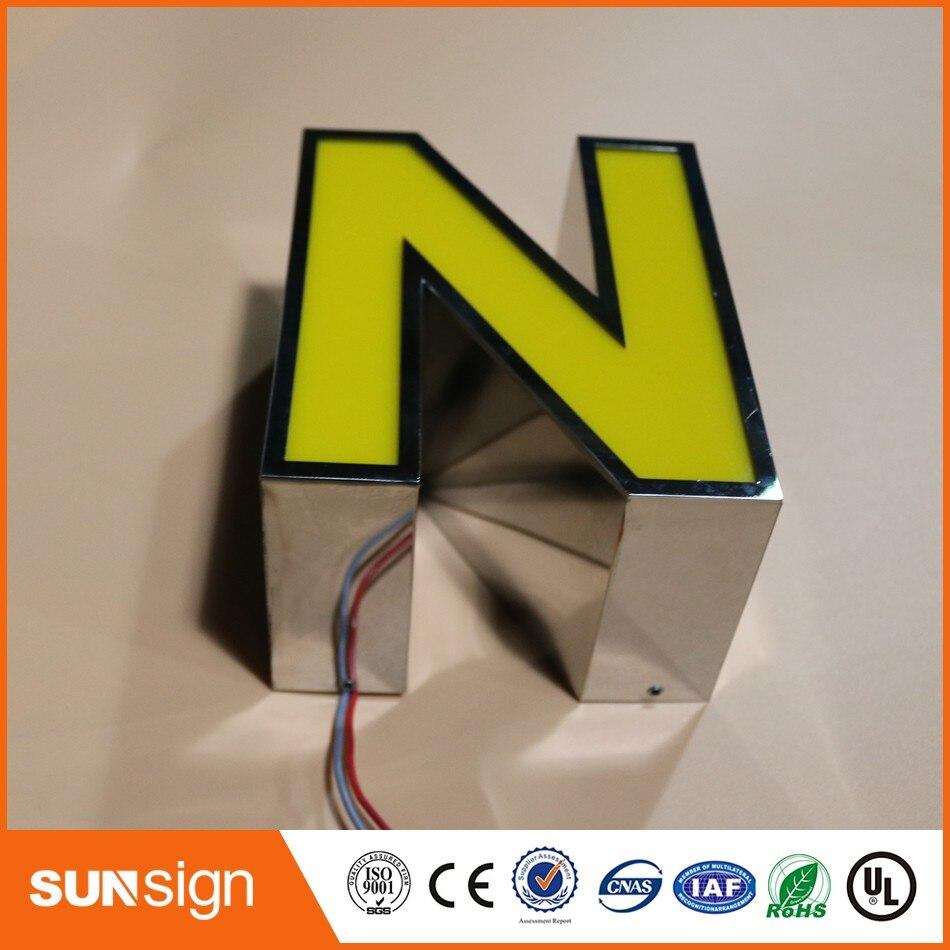Сеть магазинов реклама зеркало нержавеющая сталь отделка акриловые светодиодные буквы