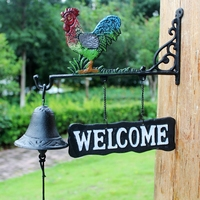 Cast Iron Metal Rooster Barn Bell Hanging Cabin Lodge Shed Gate Fence Porch Welcome Dinner Bell Hand Paint Garden Gift Cock