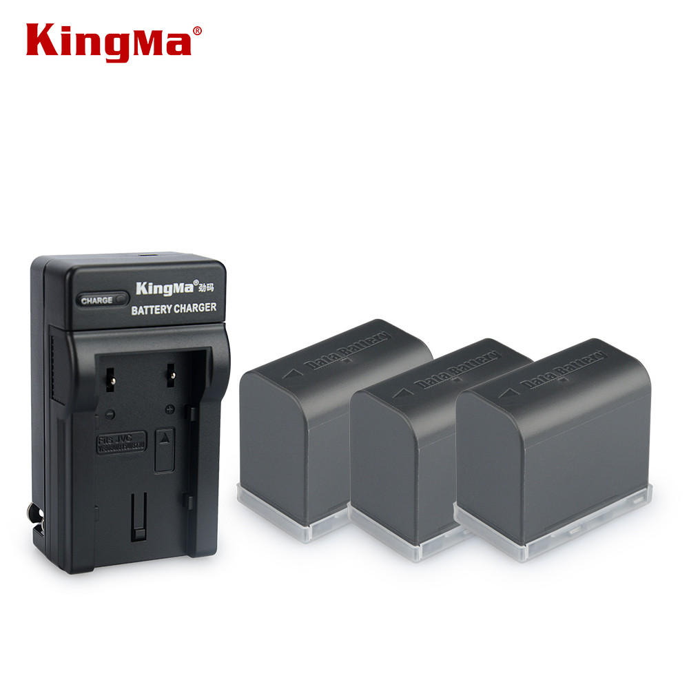 цена на KingMa 3PCS BN-VF823U 2450mAh Camcorder Battery + charger for JVC BN-VF815 BN-VF815U BNVF823 BN VF823U