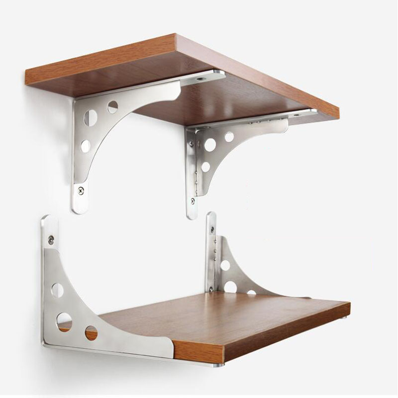 цена на Thick stainless steel Triangle Shelf bracket Universal Up & Down brackets Load bearing rack support 30CM Long X2