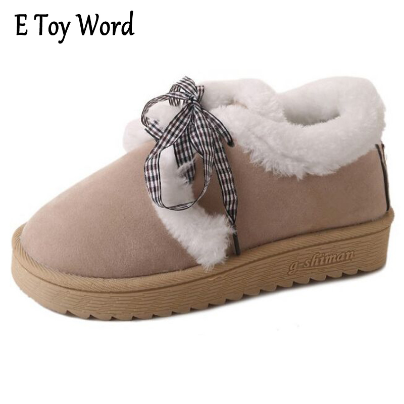 E TOY WORD Classic Women Winter Boots Suede Ankle Snow Boots Female Warm Fur Plush Insole High Quality Botas Mujer Lace-Up e toy word bullock ankle boots for women autumn increase lace up martin boots british retro boots winter high help botas mujer