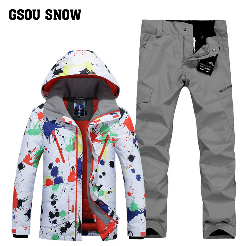 GSOU SNOW Men's Ski Suit Winter Outdoor Windproof Warm Ski Wear Waterproof Quick Drying Ski Jacket+ Ski Pants For Men