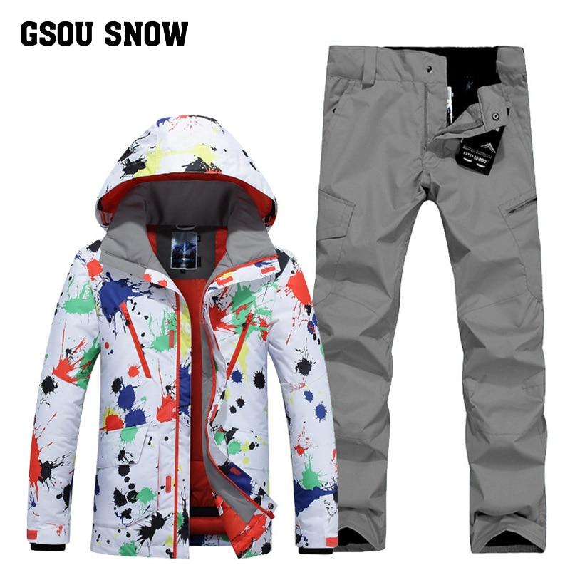 GSOU SNOW Men's Ski Suit Winter Outdoor Windproof Warm Ski Wear Waterproof Quick Drying Ski Jacket+ Ski Pants For Men