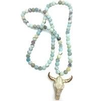 Free Shipping Amazonite Stones Bohemian Tribal Jewelry Horn Pendant Necklace