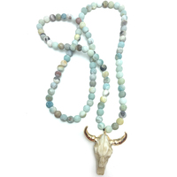 Free Shipping Amazonite Stones Bohemian Tribal Jewelry Horn Pendant Necklace