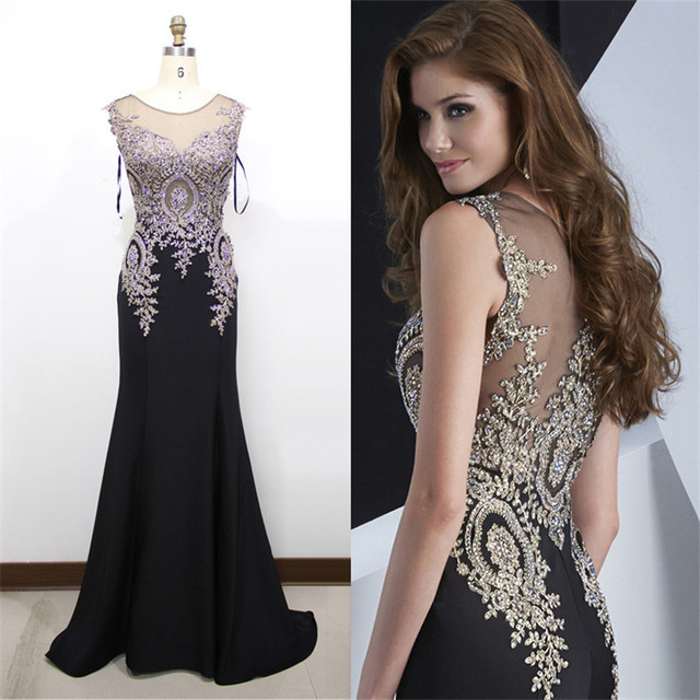 Elegant Black Mermaid Evening Dress Plus Size 2 16 Beaded Gold Lace