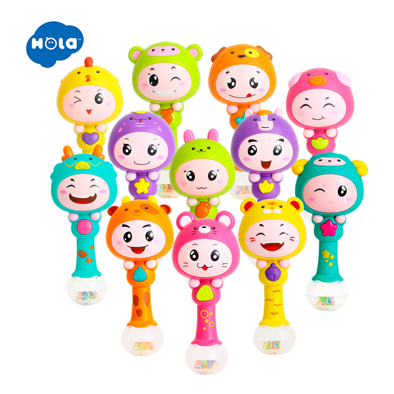 HOLA 3101 Baby Shaker Sand Hammer Toy Dynamic Rhythm Stick Baby Rattles Kids Musical Party Favor Musical Instrument Toys ice cream cart toy