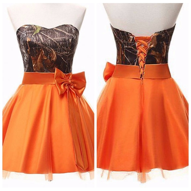 Real Photos Sweetheart Camo Camouflage A-Line Short Junior Bridesmaids  Dress Orange Skirt Formal Lace Up Back Bridesmaid Dresses 1e46c415aea0