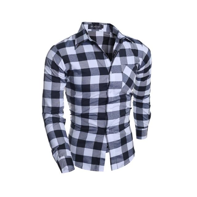 ba0a06122cee6 Camisa a cuadros de moda para hombre de manga larga de algodón slim fit  casual button