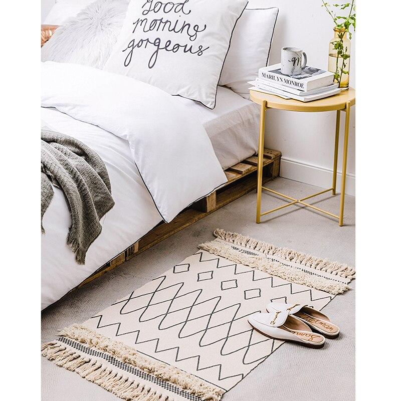 Tapis marocain tufté en coton tissé à la main glands confortables imprimé tapis de sol intérieur pour chambre à coucher, salon avec antidérapant - 6