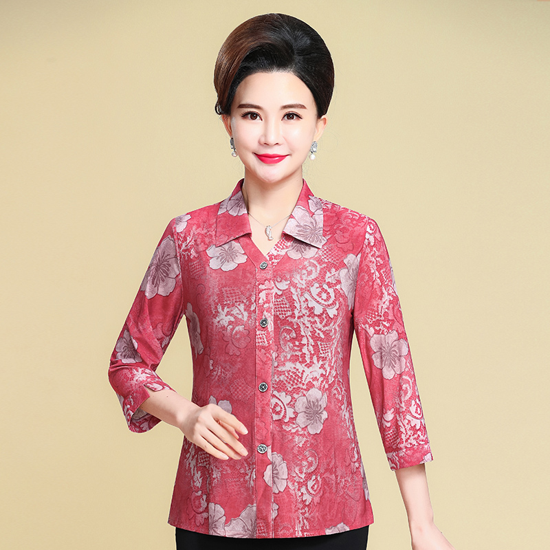 2019 Spring Summer Middle Aged Women Elegant Casual Blouse Floral Print Blouse Casual Button 3 4 Sleeve Shirt Basic Top in Blouses amp Shirts from Women 39 s Clothing