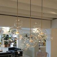 Post modern personality designer creative multi glass ball pendant light nordic home deco DIY golden bubble LED pendant lamp