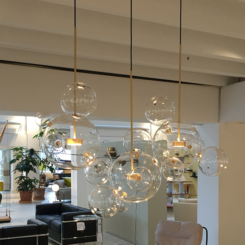 Post-modern Personality Designer Creative Multi-glass Ball Pendant Light Nordic Home Deco DIY  Golden Bubble LED Pendant Lamp