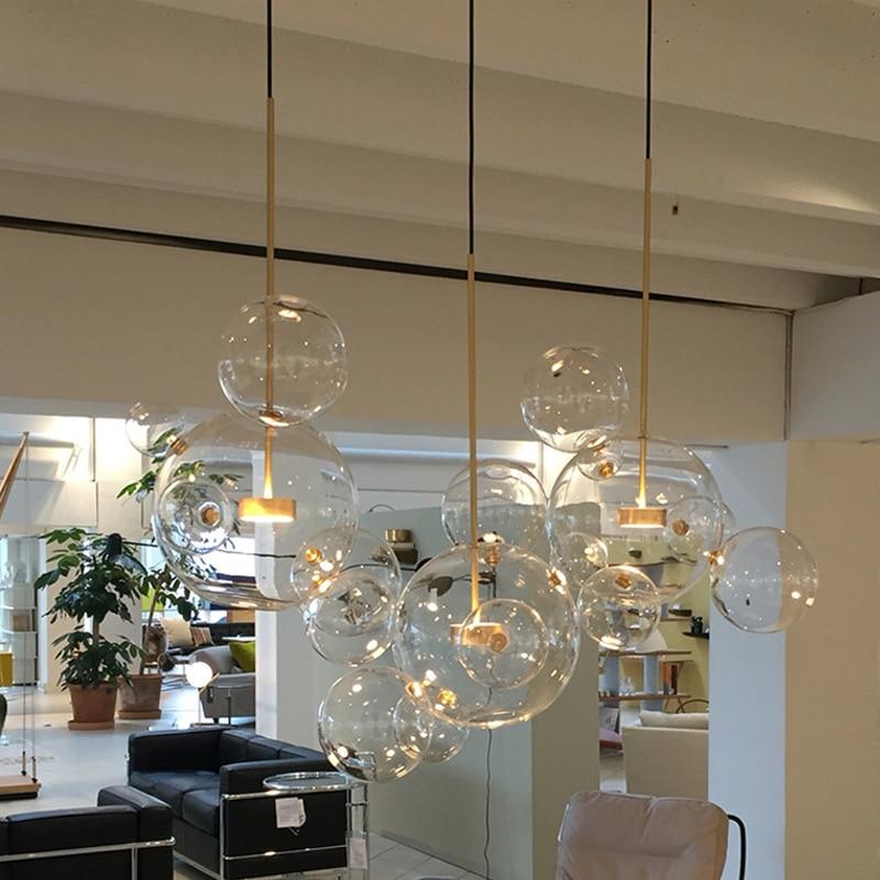 Post-modern Personality Designer Creative Multi-glass Ball Pendant Light Nordic Home Deco DIY  Golden Bubble LED Pendant Lamp