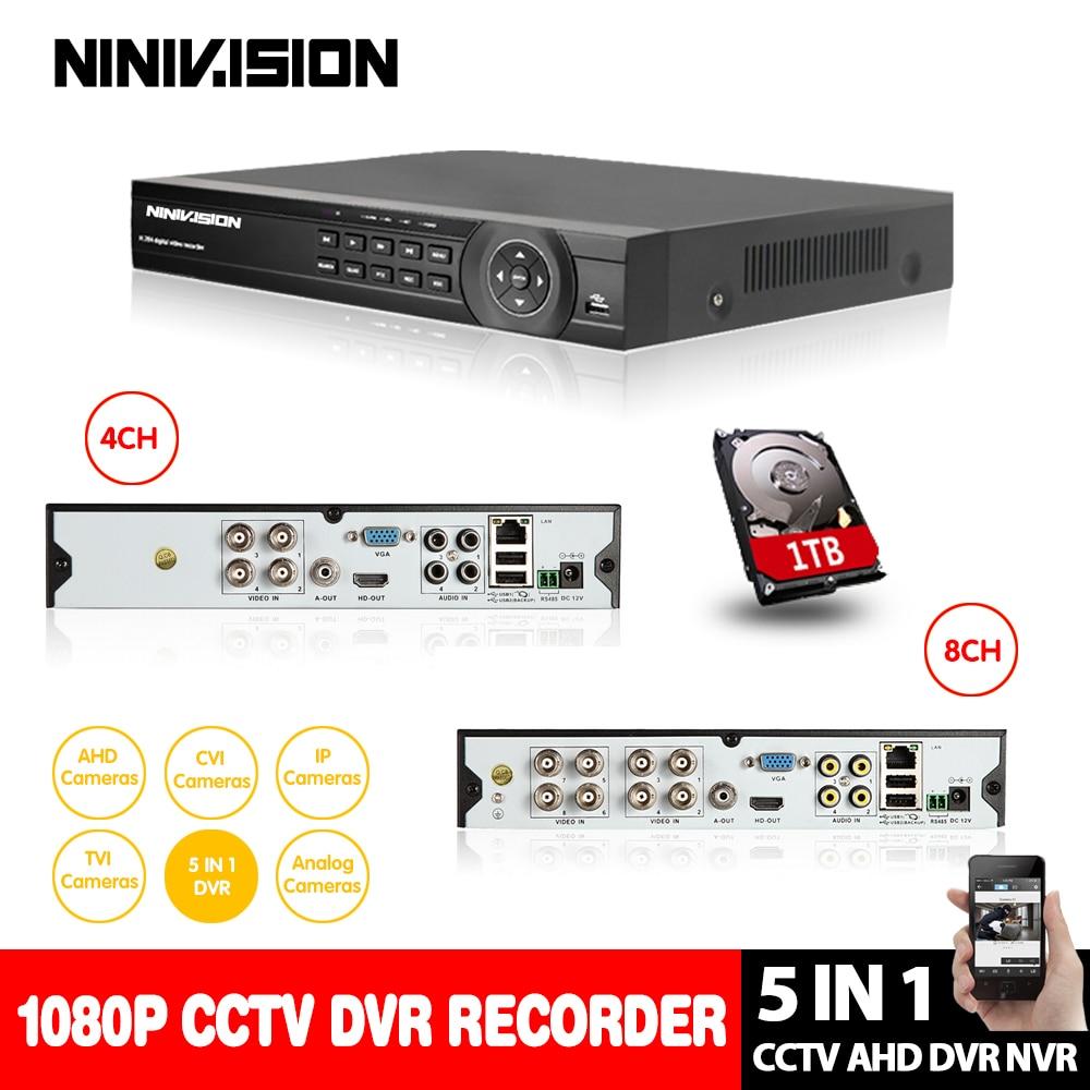 NINIVISION 5 IN 1 AHD CVI TVI CVBS NVR 4Ch 8Ch 1080P Security CCTV DVR NVR XVR Hybrid Video Recorder 1080P Onvif P2P Mobile View