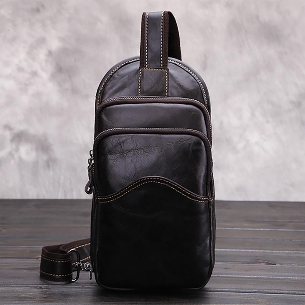 Cire à l'huile en cuir véritable Messenger sac à bandoulière unique hommes décontracté Vintage croix corps Designer peau de vache fronde poitrine sac à dos