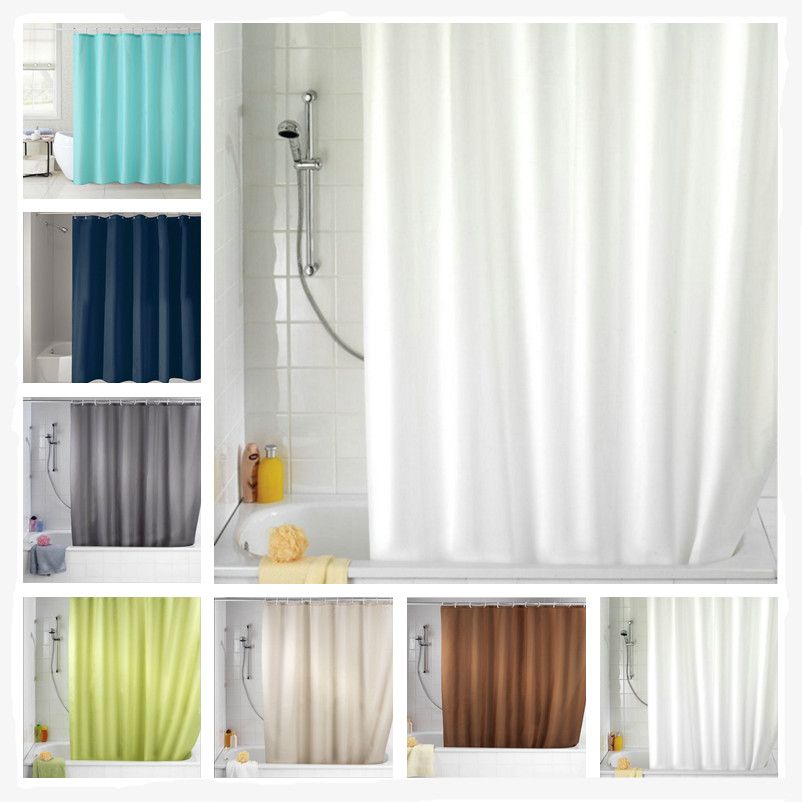 180cm*180cm Custom Solid Color Waterproof Fabric Bathroom Shower Curtain With 12pcs Hooks For Free (7 Colors)