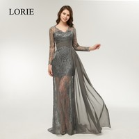 Special Occasion Women Dresses Mermaid Evening Party 2019 Vintage Lace Long Sleeve Prom Dress Beading Formal Grey Evening Gowns