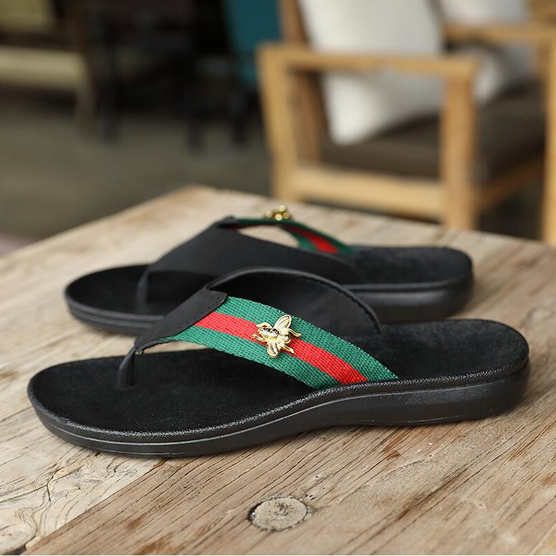 Flip-flops men's summer non-slip sandals and slippers bee trend outdoor beach shoes men's casual slippers