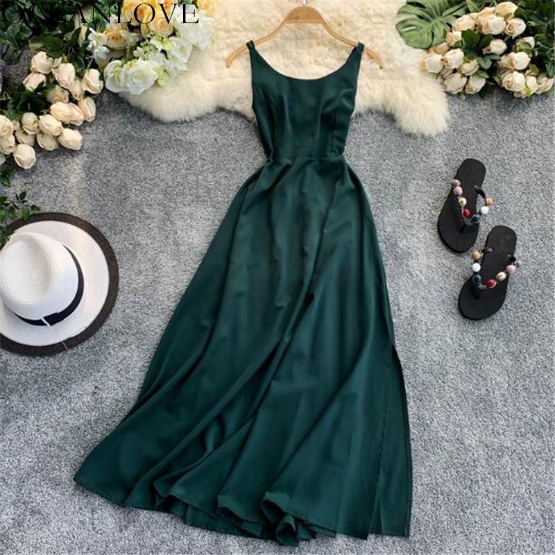 OCEANLOVE Solid Chiffon Long Women Dress Backless Sexy A-line Vestidos Summer Dresses 2020 High Waist Lace Up Robe Femme 11851