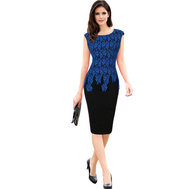 US $19.16 29% OFF|Catherine Elizabeth Middleton Women Elegant Lace  Embroidery Patchwork Slim High Waist Knee Length Formal Dress Plus Size  303962-in ...