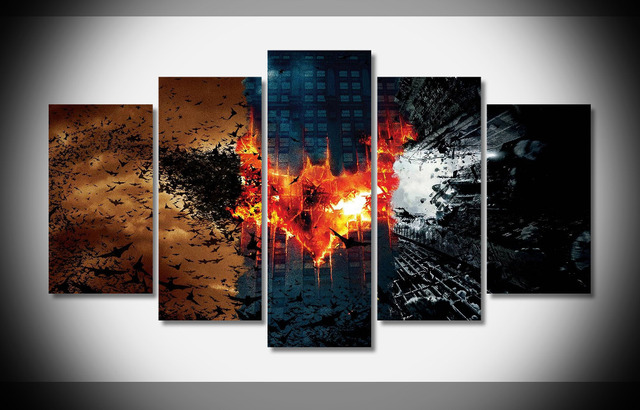 5 Panel Hd Printed Modular Painting Bat Canvas Print Art Modern Home Decor Wall Picture For Living Room F0659