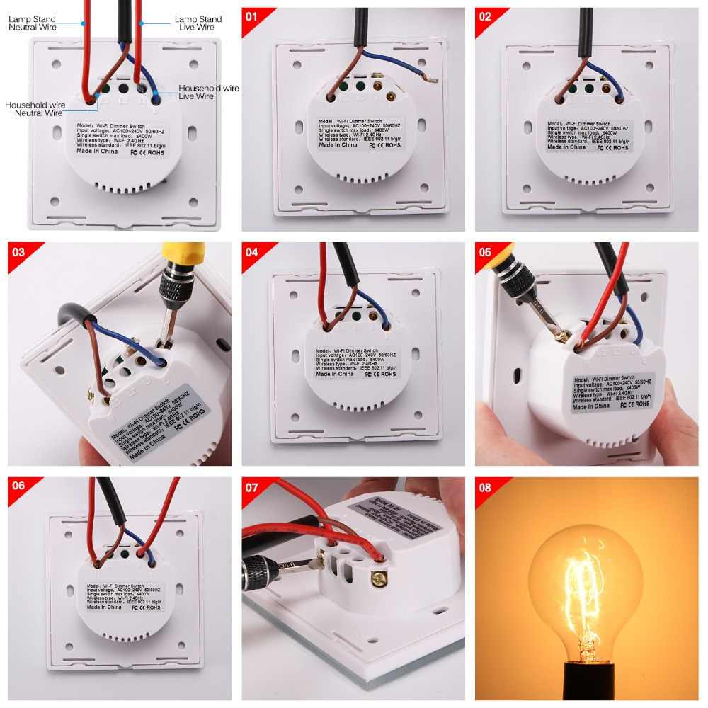 Houkiper Smart Switch Luxury Crystal Glass Panel Standard Dimmer And Remote Wall Light Switch