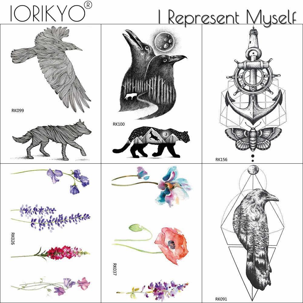 Iorikyo Waterproof Tattoo Black Birds Crow Women Body Art Drawing Temporary Tattoo Peak Men Arm Ankle Waterproof Tatoos Eagle Aliexpress