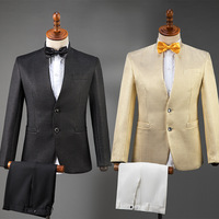 Men's Chinese Moderator Costumes Adult Tuxedo Costume Singer Suit Dress Set Chinese Style Performance Choir