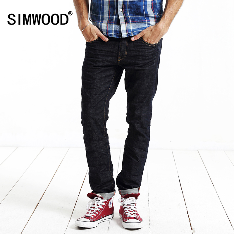 SIMWOOD Brand 2017 New Arrival Jeans Men Casual Fashion Slim Fit Straight Denim Pants For Man Free Shipping SJ6020 new men s autumn elastic black brand jeans casual fashion straight cassical denim pants men slim male jeans meth pant for man
