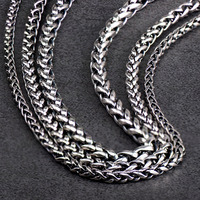 Weaving Wheat design 925 Sterling Silver chain choker and Sweater chain necklace for man fashion