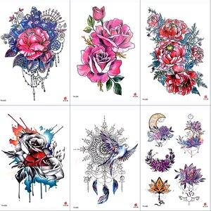 Image 2 - DIY Vücut Sanatı Geçici Dövme Renkli Dreamcatcher Kırlangıç Suluboya Boyama Çizim Çıkartması Su Geçirmez Dövmeler Sticker
