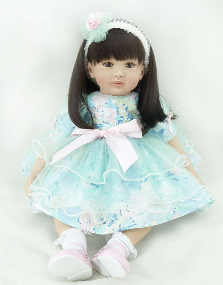 22 exquisite Adora baby-reborn with dark brown straight hair and blue lace princess dress