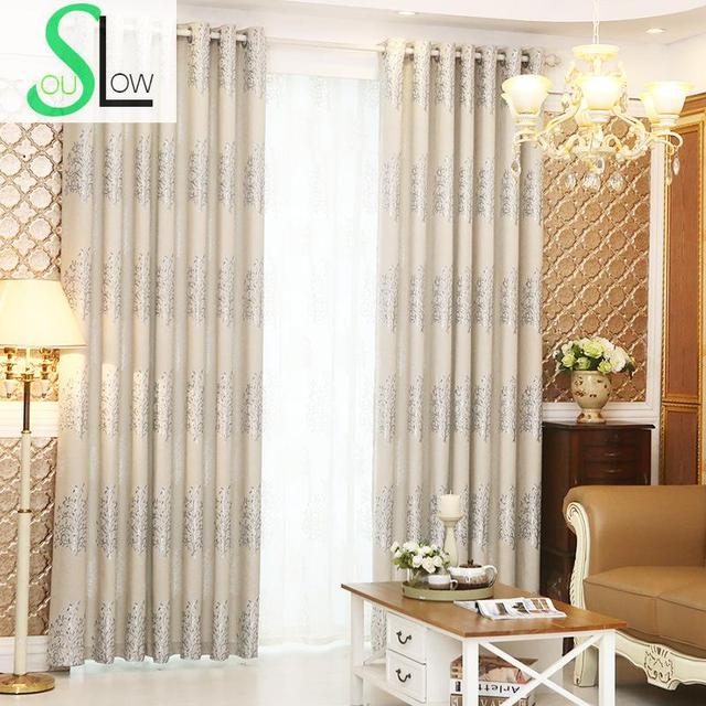 Slow Soul Blue Brown Purple Chenille Jacquard Double Shade Thickened Tree  Curtains For Living Room Curtain