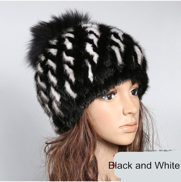 Real mink fur  hat knitted autumn winter warm cap with fox fur pom pom natural mink ladies fashion warm hats for women fur H916