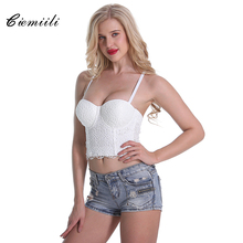 CIEMIILI 2017 Solid Lace Women Tops White Red Black Cocktail Evening Party Fashion Spaghetti Strap Bodycon Club Wear Crop Tops