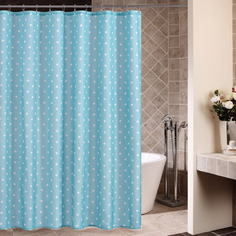 Blue Wave Point Bath Shower Curtain Polyester Waterproof Bathroom Curtain Printing Curtain Partition (Matching Hook)