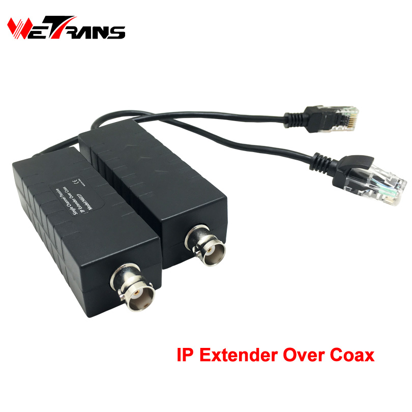Wetrans IP Extender Ethernet Over Coax,1 CH Single Channel Passive IP Camera Transmitter Receiver Coaxial Cable up to 100m 330ft ...