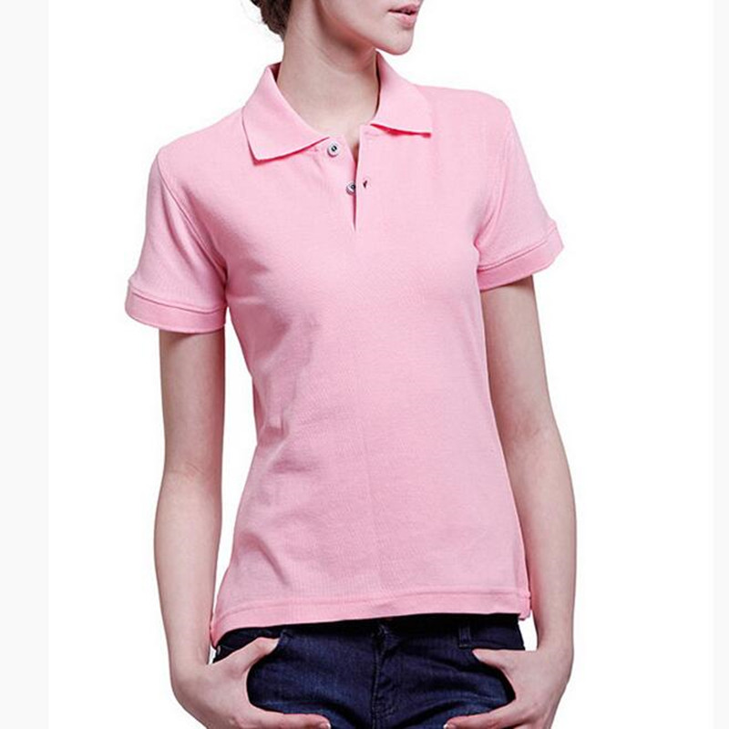 2018 Neueste Sommer Mode Frauen Polo-shirt Reverskragen Kurzen Hülse Polo Tops Pure Color Schlank Große Yards Polo Shirts