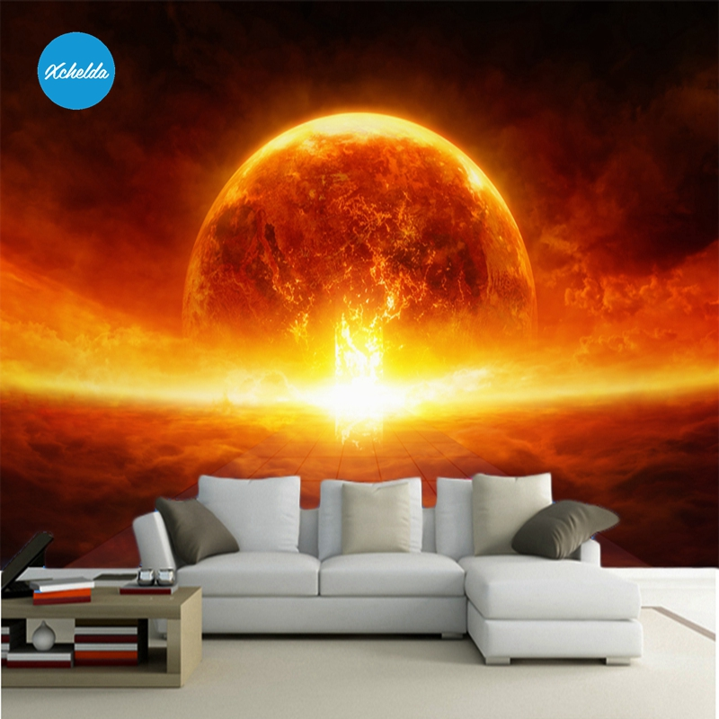 XCHELDA Custom 3D Wallpaper Design Fantastic Sun Photo Kitchen Bedroom Living Room Wall Murals Papel De Parede Para Quarto kalameng custom 3d wallpaper design street flower photo kitchen bedroom living room wall murals papel de parede para quarto