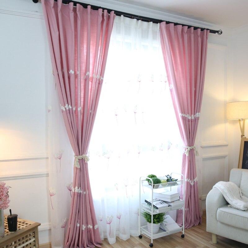 chica cortina cortinas bordado rosa corto cortina para la cortina habitacin kid floral cortina de ventana