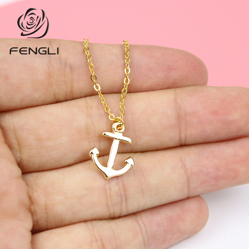FENGLI Anchor Women Necklace Simple Geometric Pendants Necklaces Lovely Girl Necklace Jewellery Kolye Collier collare