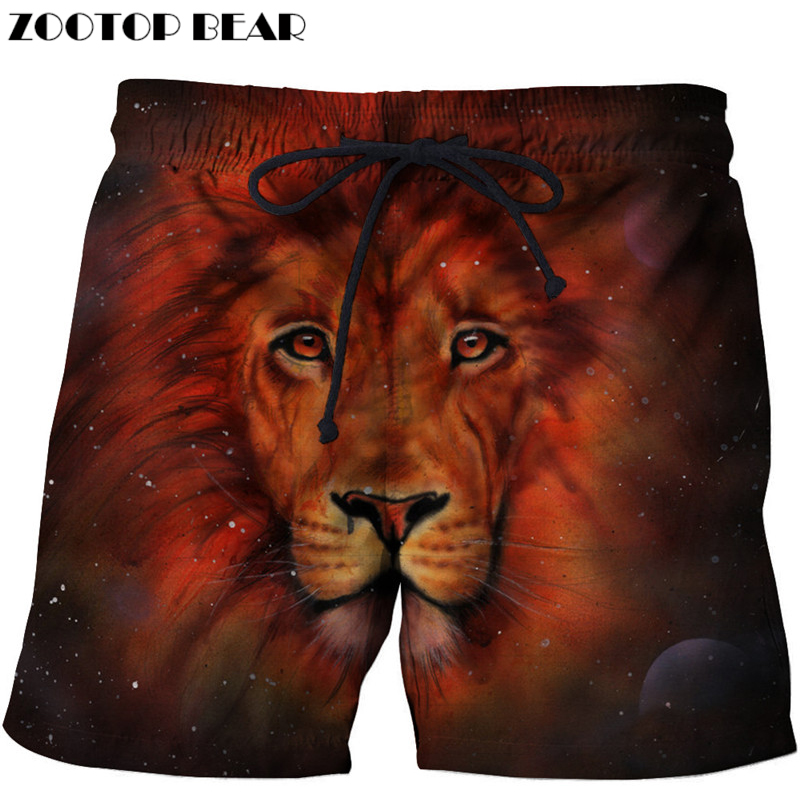 Red Lion Beach   Shorts   Men Pants   Board     Shorts   Plage 3d Homme Trouser Funny Swimwear Quick Dry   Shorts   Casual DropShip ZOOTOP BEAR