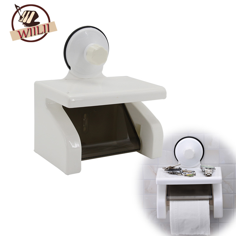 Waterproof Toilet Roll Paper Holder Bathroom Tissue Durable Accessories Wall Mounted Plastic Suction With Mobile Phone Rack Tray